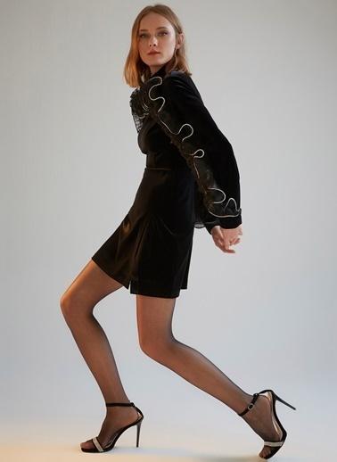 morhipoxsudi etuz Taş İşlemeli Volanlı Kadife Elbise Siyah